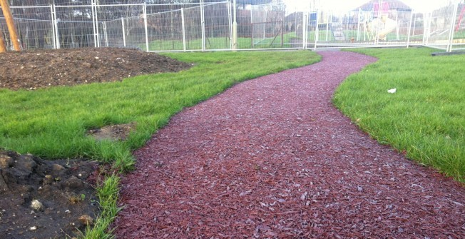 Rubber Mulch Pathways in Abbey Yard